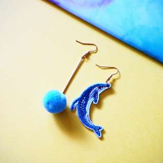 🚚 ELLERY THE DOLPHIN EARRINGS (EMBROIDERY PATCHES)