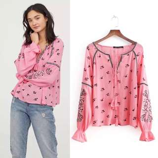 2018 European Station Cotton Print Embroidered Top Women's Embroidered Shirt