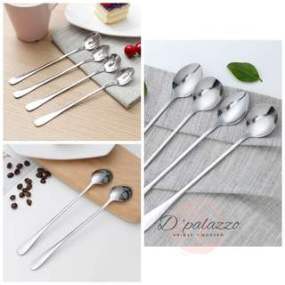 Stainless Steel Long Handle Spoon Coffee Spoon Dessert Spoon Korean Style
