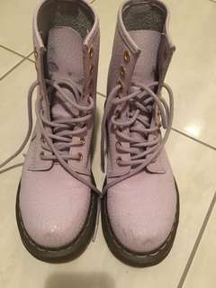 Purple doc martens lace up boots size 6