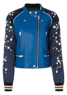 WOMEN'S COACH EMBROIDERED BOMBER LEATHER JACKET