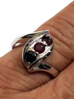 Ruby & Safar & Nafride Gem Stone 925 Sliver Ring