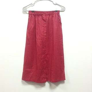 SUPER SALE! Red Midi Skirt With Pockets