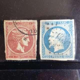 [lapyip1230] 希臘1861年(首款郵票) 法國1853年(拿破崙三世皇帝) 相近設計 一對 VFU