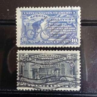 [lapyip1230] 美國 1912年(單車) 1924年(汽車) 特快專遞郵票 兩套 VFU
