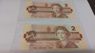 加拿大 1986 2元 連號一對2張