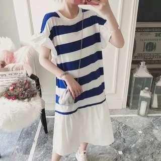(XL~4XL) 2018 Summer Korean Stripe Long Dress