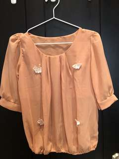 Brown butterfly top
