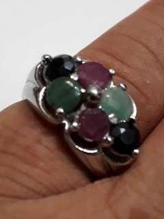 Ruby,Safar & Nafride Gem Stone 925 Sliver Ring
