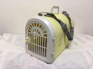 藤型寵物提籠背帶組 / 提籃 / 運輸籠 / 寵物包 - 黃