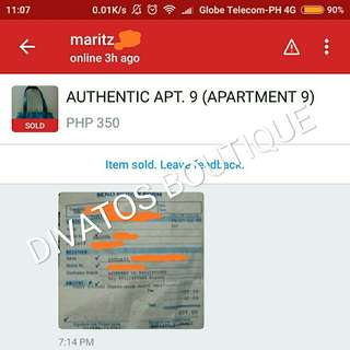 Thank you, Ma'am Marita, for purchasing the Apt. 9 bag!