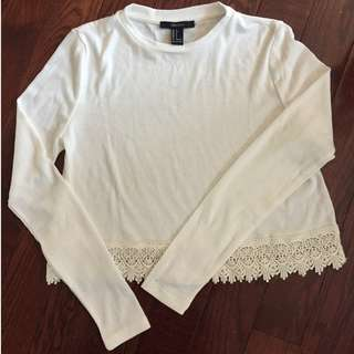 F21 White Lace Flowy Top