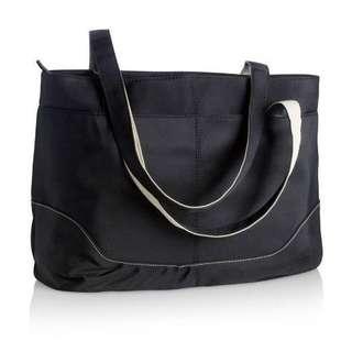 Black microfiber tote bag