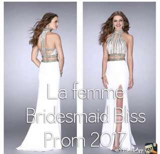 MUST-SEE White sequenced two-piece prom dress with leg slit and trail Size 4
