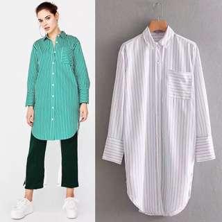 Loose fitting Euro Striped Shirt Dress Loose Long Sleeve Dress