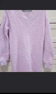 Baby Pink furry winter wear vneck