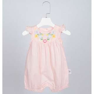 3M-18M Floral Embroidery Sleeveless Onesie in peach