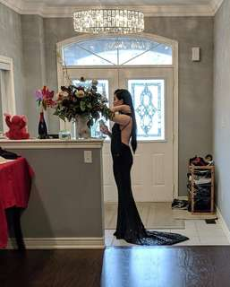 Black Sequin Backless Prom Dress (worn once)