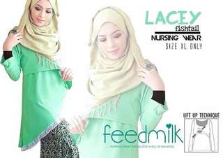 🆕 Blouse Feedmilk Lacey Fishtail (nursing wear)