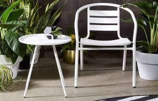 WHITE METAL ROUND SIDE OUTDOOR TABLE