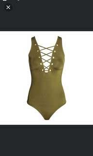 H&M olive green swimwear/ monokini #midmay75
