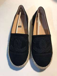 BLACK CHANEL ESPADRILLES CANVAS FLATS