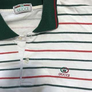 VINTAGE GUCCI STRIPE COLLAR POLO LONG SLEEVE
