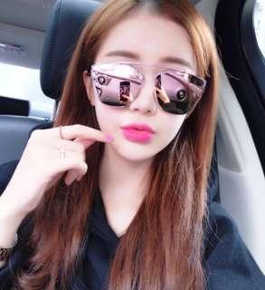 Korean Reflective Lady Pink Sunglasses