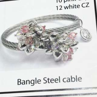 Charriol 25th anniversary Bunches of Love Steel Cable Bangle with pink and white CZ