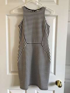 Monteau Size S Black/White Striped Fitted Dress