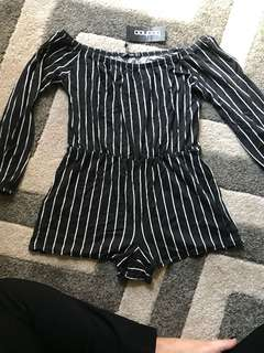 Striped Playsuit BOOHOO
