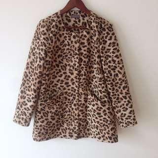 Jacqui E Leopard Print Collarless Coat