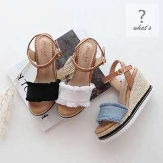 🚚 Korea 👡 復古丹寧牛仔楔型皮帶扣涼鞋