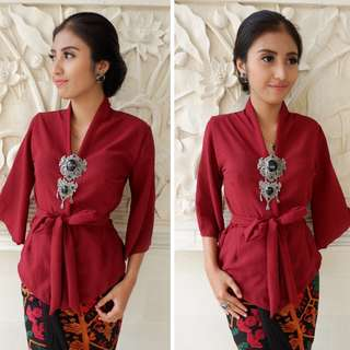 Maroon Kebaya Top Only INSTOCKS NOW