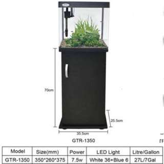 27L DOPHIN GTR1350 Bend Glass Tank with cabinet (Black)