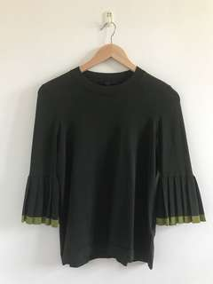 COS dark green knit top