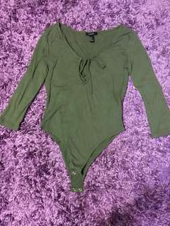F21 Olive Green Bodysuit