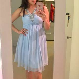 Forever New Chiffon Dress In baby blue