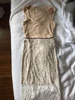 BNWOT Co-ord Lace Skirt/Nude Crop Top