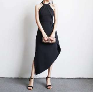 Halter neck black maxi