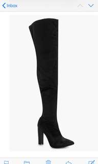 BLACK SATIN Over The Knee Boots