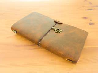 (Vintage Brown) Customisable Leather Travel Journal (Traveler's Notebook)
