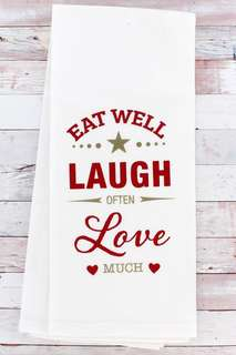 JUST ARRIVED! Laugh Often Kitchen Dish Towel