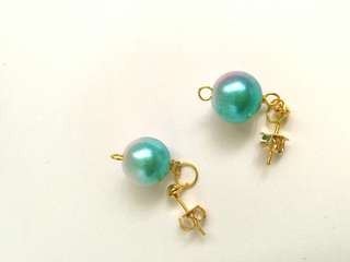 Ear Stubs Gold Color with The Bluish-to-Pinkish Dangling Earrings faux pearl EB008