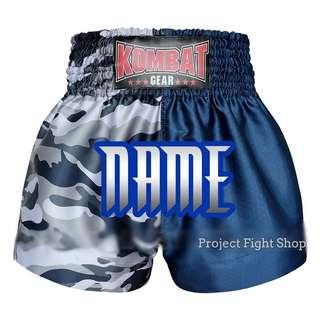 Customize Kombat Gear Muay Thai Boxing MMA Shorts 2 Tone Blue Camouflage