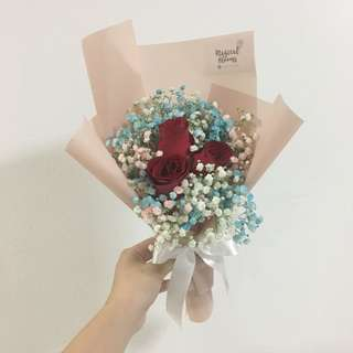Red rose with baby breath in korean wrapping birthday bouquet