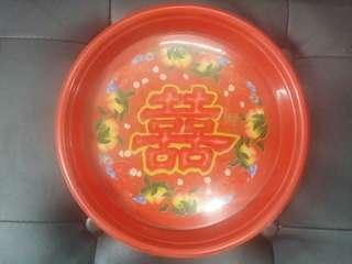 70's塑膠茶盤果盤兩隻