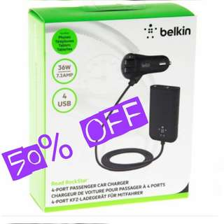 Passenger Backseat USB CAR CHARGER by Belkin. (36Watts -7.2Amp) Usual Price: $79.90 Today Offer:$ 39.90 ( Brand New In Box & Sealed) whatsapp 85992490 to collect Today