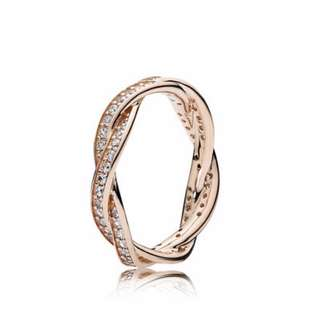 Pandora Rose Braided Pavé Ring