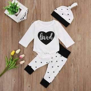 Instock - 3pc loved set, baby infant toddler girl boy children sweet kid happy abcdefghijkmno